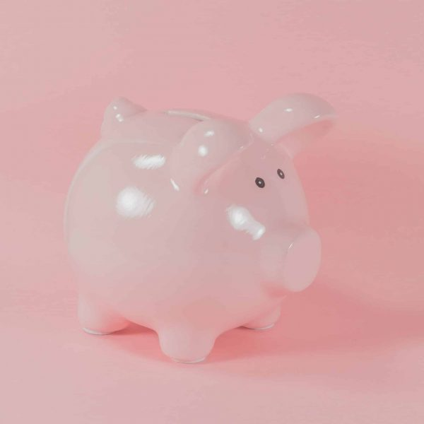 Foto eines rosafarbenen Sparschweins